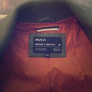 RVCA green faux leather jacket